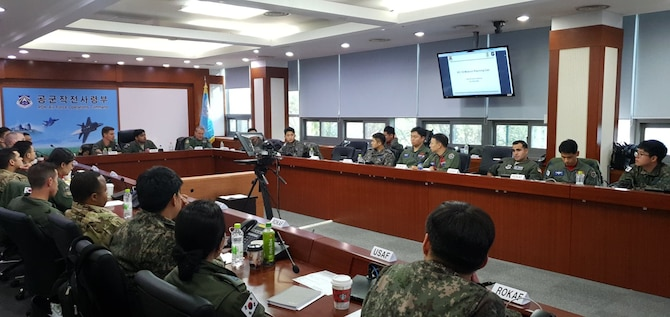 Members of the 607 Air Operations Center hosted a Pacific Tanker Symposium with the Republic of Korea Air Force Operations Command, Air Mobility Branch, at Osan Air Base, ROK, Nov. 18, 2019. Four nations participated including the United States, the Republic of Korea, Australia and the United Kingdom. The objective was to build and enhance interoperability in the Pacific region between tanker communities from allied nations. (U.S. Air Force courtesy photo)