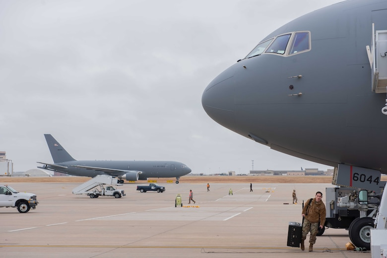 McConnell's 19th KC-46 Pegasus taxis upon delivery, which arrived with two other aircraft Nov. 22, 2019, at McConnell Air Force Base, Kan. McConnell has 19 KC-46s, the Air Force's newest aircraft, which is the future of aerial refueling. (U.S. Air Force photo by Staff Sgt. Chris Thornbury)