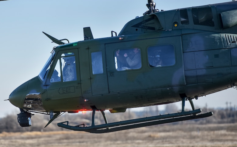 A 36th Rescue Squadron UH-1N Huey takes off during Military Working Dog training Nov. 21, 2019, at Fairchild Air Force Base, Washington.