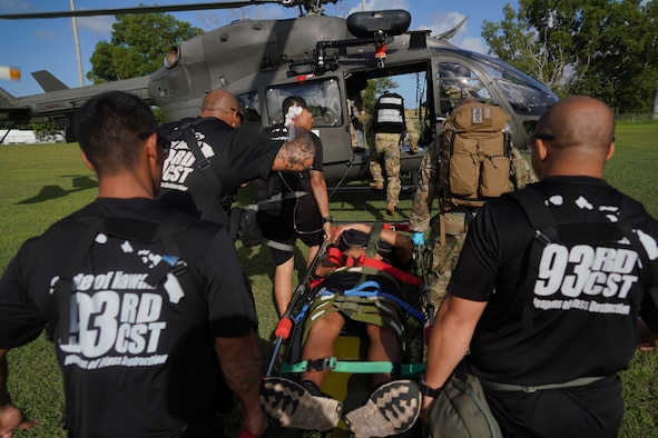 Members of the 93rd CST load an Airman with a simulated injury on a Guam National Guard Lakota helicopter for transport during exercise Vigilant Guard 2020, Guam, Nov. 21, 2019. Vigilant Guard is a series of exercises that take place in each FEMA region annually. The training exercise program sponsored by U.S. Northern Command, in conjunction with National Guard Bureau, provides civilian-military first responders and emergency management personnel the opportunity to evaluate their capabilities and identify areas for improvement, in the most realistic, large-scale disaster scenarios possible. (U.S. Air National Guard photo by Tech. Sgt. Andrew Jackson)