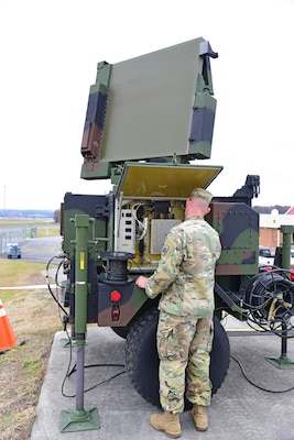 Staff Sergeant Reynolds, a radar operator with the 263rd Air Defense Artillery Brigade, conducts checks during Amalgam Dart 20-4 live-fly training exercise at McGhee Tyson Air National Guard Base, Tennessee, Nov. 20, 2019.