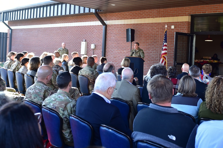 Col. Donn Yates, 4th Fighter Wing commander, addresses attendees at the ribbon cutting ceremony of a new USO of North Carolina center, Nov. 21, 2019, at Seymour Johnson Air Force Base, N.C. The new USO of NC – SJAFB Center includes a coffee station, lounge area, conference table and the first ever USO E-Sports gaming arena. (U.S. Air Force photo by Senior Airman Victoria Boyton)