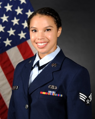 Official photo of SrA Christina Bagley, vocalist with Pacific Showcase and Final Approach at the United States Air Force Band of the Pacific, Yokota Air Base, Japan.