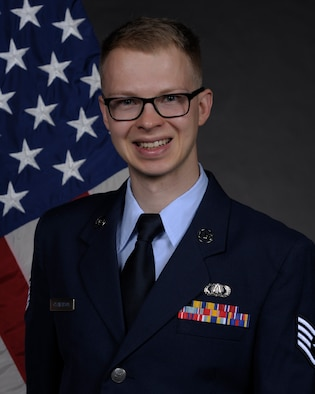 Official Photo of Staff Sergeant Andrew Clemenson, drummer for Pacific Showcase, Pacific Brass and Final Approach at the United States Air Force Band of the Pacific, Yokota Air Base, Japan