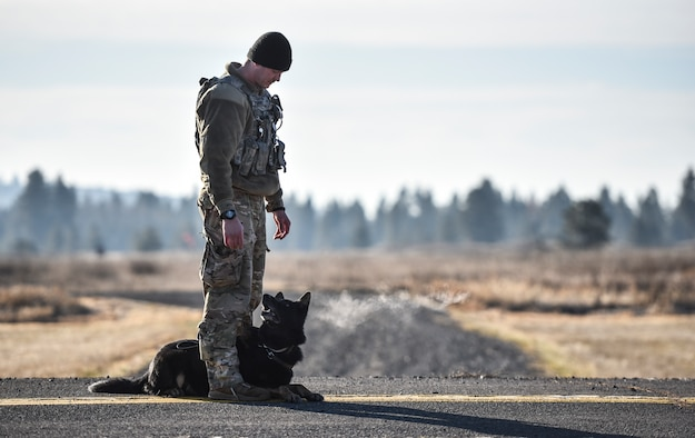 U.S. Air Force Senior Airman Ian McKinney, 92nd Security Forces Squadron Military Working Dog handler, and his dog Rosso prepare for UH-1N Huey training Nov. 21, 2019, at Fairchild Air Force Base, Washington.