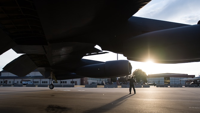 "Capt. Tim ""Vice"" Nichols, 20th Bomb Squadron instructor pilot, inspects a B-52H Stratofortress after a flight at Barksdale Air Force Base, La., Nov. 21, 2019."
