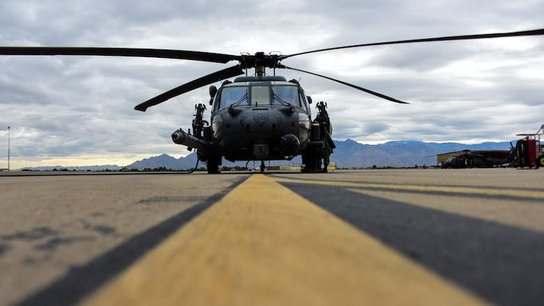 Helicopter sits on flight line