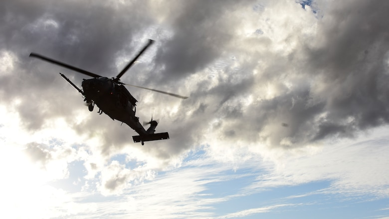 Helicopter prepares to land