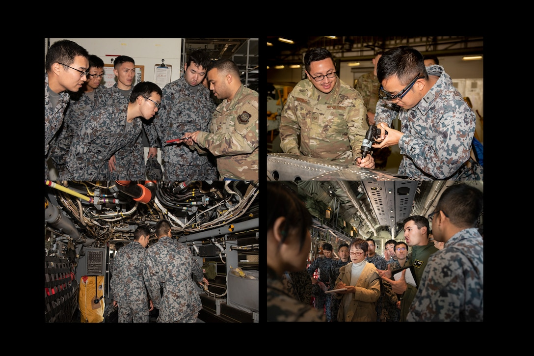 JASDF maintenance cadets visited Yokota on an educational tour to learn firsthand how their U.S. Air Force counterparts conduct aircraft maintenance. (U.S. Air Force photo by Machiko Arita)