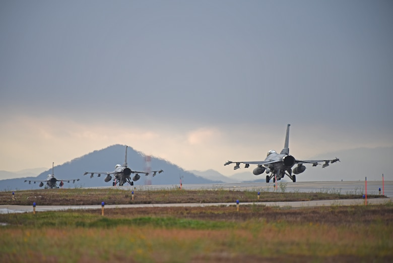 "U.S. Air Force F-16 Fighting Falcons assigned to the 8th Fighter Wing taxi down the flightline at Kunsan Air Base, Republic of Korea, Nov. 19, 2019. The 8th FW is home to two fighter squadrons, the 35th Fight Squadron ""Pantons"" and 80th FS ""Juvats."" They perform air and space control roles including counter air, strategic attack, interdiction and close-air support missions. (U.S. Air Force photo by Staff Sgt. Mackenzie Mendez)"