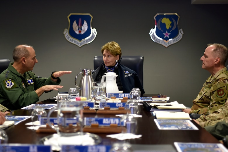 Gen. Jeff Harrigian, U.S. Air Forces in Europe and Air Forces Africa commander, briefs Secretary of the Air Force Barbara M. Barrett with Maj. Gen. John Wood, Third Air Force Commander, during a command overview brief at Ramstein Air Base, Germany, Nov. 22, 2019.