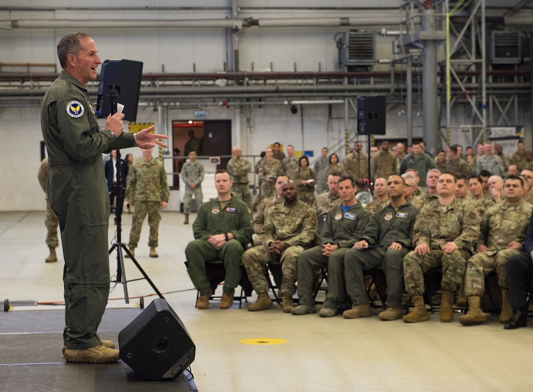 Air Force Chief of Staff Gen. David L. Goldfein addresses Airmen during a town hall on Ramstein Air Base, Germany, Nov. 22, 2019.