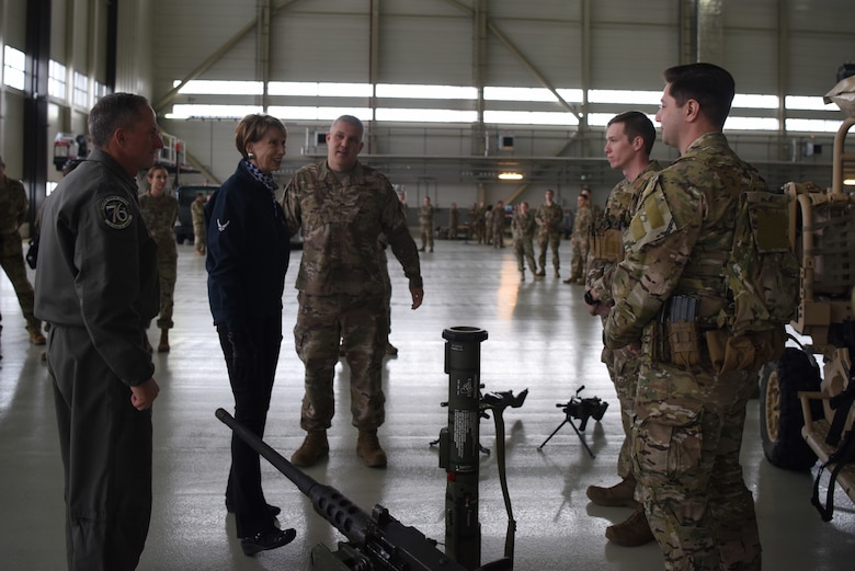 Air Force Chief of Staff Gen. David L. Goldfein and Secretary of the Air Force Barbara Barrett talk to members of the 435th Security Forces Squadron during a base tour on Ramstein Air Base, Germany, Nov. 22. 2019.