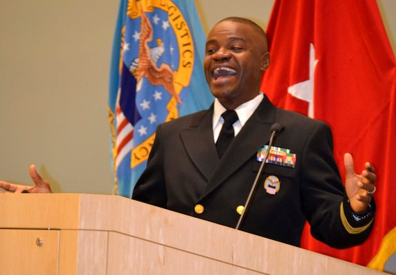 Navy Lt. Cmdr. Prince Tailey, Customer Electronic Catalogue/Medical Surgical Operations Center branch chief in DLA Troop Support's Medical supply chain, thanks his friends, family and coworkers during a promotion ceremony in his honor November 22, 2019, in Philadelphia.