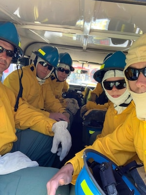 Firefighters from the New York Air National Guard's 109th Airlift Wing at Stratton Air National Guard Base near Schenectady, N.Y., training at Table Mountain National Park in Cape Town, South Africa, Nov. 20, 2019. The New York National Guard sent 11 firefighters from the 109th to South Africa as part of the State Partnership Program between the New York National Guard and the South African National Defence Force.