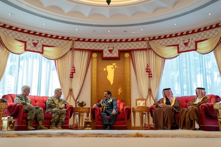 Army Gen. Mark A. Milley, chairman of the Joint Chiefs of Staff, meets with His Majesty, King Hamad bin Isa Al Khalifa, the King of the Kingdom of Bahrain during a visit to Manama, Bahrain, Nov. 25, 2019.