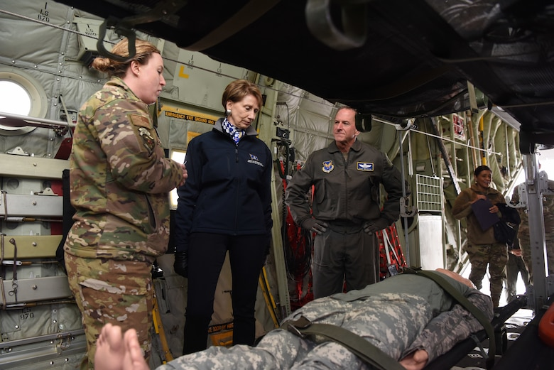 Secretary of the Air Force Barbara Barrett and Air Force Chief of Staff Gen. David L. Goldfein visit with members of the 86th Aeromedical Evacuation Squadron on a U.S. Air Force C-130J Super Hercules aircraft during a visit to Ramstein Air Base, Germany, Nov. 22, 2019.