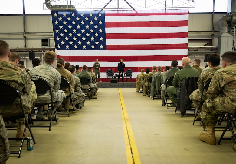 Secretary of the Air Force Barbara Barrett, right, and Air Force Chief of Staff Gen. David L. Goldfein answer questions from Airmen during a town hall on Ramstein Air Base, Germany, Nov. 22, 2019.