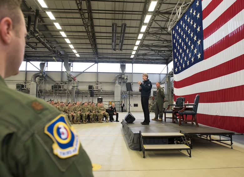 Secretary of the Air Force Barbara Barrett addresses Airmen during a town hall on Ramstein Air Base, Germany, Nov. 22, 2019.