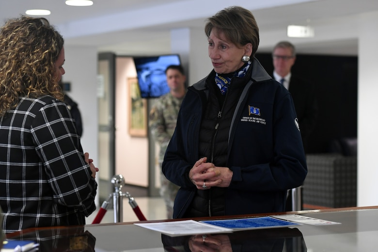 Ms. Krystal Shiver, U.S. Air Forces in Europe and Air Forces Africa chief of integrated resiliency division, briefs Secretary of the Air Force Barbara M. Barrett about Operation GRIT during a visit to headquarters USAFE-AFAFRICA, Ramstein Air Base, Germany, Nov. 22, 2019.