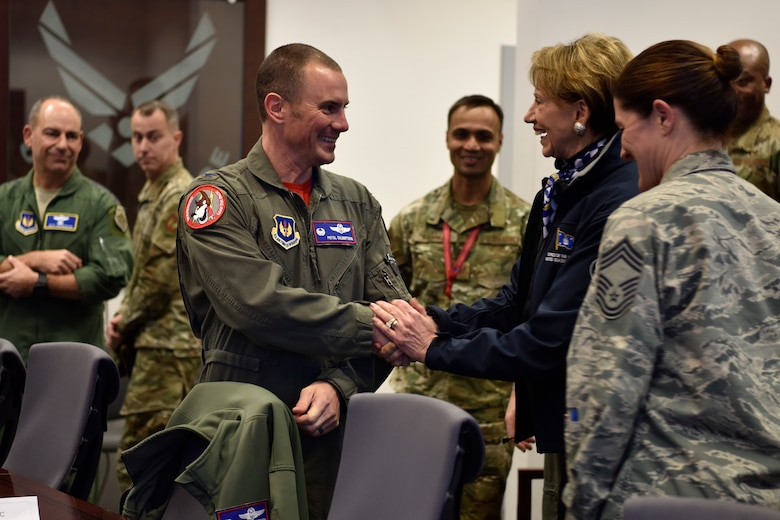 U.S. Air Force Col. Cary Culbertson, 603rd Air and Space Operations Center commander, greets Secretary of the Air Force Barbara M. Barrett, during a tour of the AOC at Ramstein Air Base, Germany, Nov. 22, 2019.