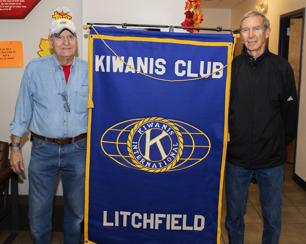 J.T. Mullen (left) and Don Pocock, Kiwanis of Litchfield members, pose for a photo at the Turkeys for Troops food drive Nov. 21, 2019, at Luke Air Force Base, Ariz.
