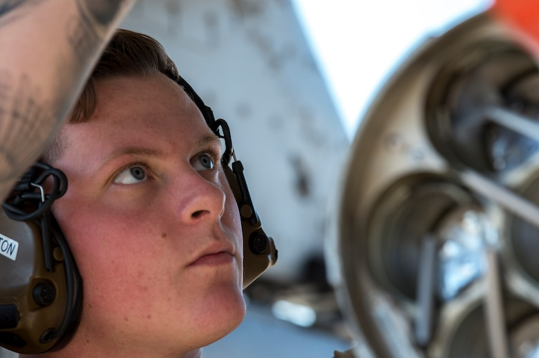 U.S. Air Force Senior Airman Dylan Holton, a weapons load crewmember assigned to the 23rd Aircraft Maintenance Squadron, Moody Air Force Base, Ga., secures a weapon on an A-10 Thunderbolt II assigned to the 74th Fighter Squadron, Moody AFB, for Exercise Mobile Tiger Nov. 19, 2019 on MacDill Air Force Base, Fla.
