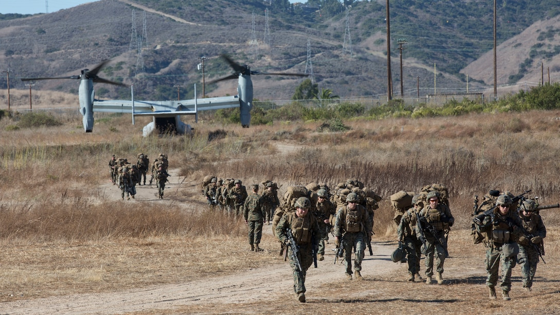 U.S. Marines with Kilo Company, Battalion Landing Team 3/5, 11th Marine Expeditionary Unit, depart from an MV-22 Osprey with Marine Medium Tiltrotor Squadron (VMM) 163 (Reinforced), 11th MEU, after returning to Marine Corps Base Camp Pendleton, California, from a seven-month deployment. The 11th MEU is returning home after being deployed aboard the Boxer Amphibious Ready Group, having completed operations and exercises in the U.S. Indo-Pacific Command and U.S. Central Command areas of responsibility.
