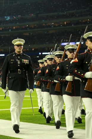 The Silent Drill Platoon performed during the halftime show at the Houston Texans vs. Indianapolis Colts NFL game.