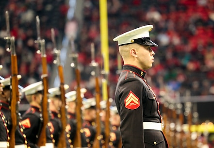 The Silent Drill Platoon performed at the halftime show during the Atlanta Falcons vs. Tampa Bay Buccaneers game.