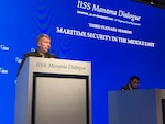 U.S. Marine Corps Gen. Kenneth F. McKenzie Jr., commander, U.S. Central Command, discusses maritime security in the Middle East at the 15th Regional Security Summit of the IISS Manama Dialogue, Nov. 23, 2019. (Courtesy photo provided by IISS)