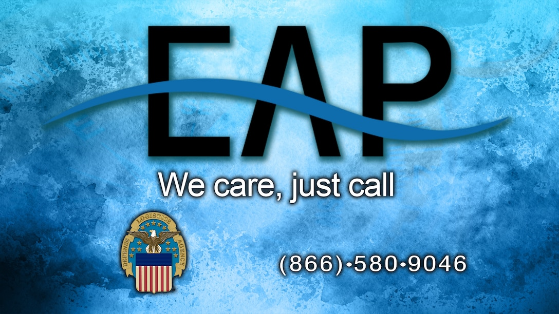 "Employee Assistance Logo and DLA crest with the slogan, ""We care, just call,"" and the phone number, 866-580-9046."