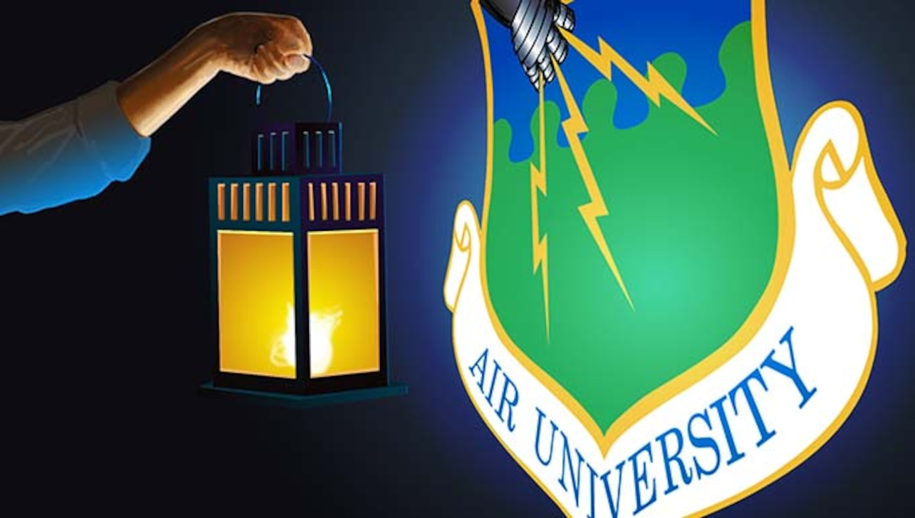 Artist illustration of a latern lighting the Air University shield