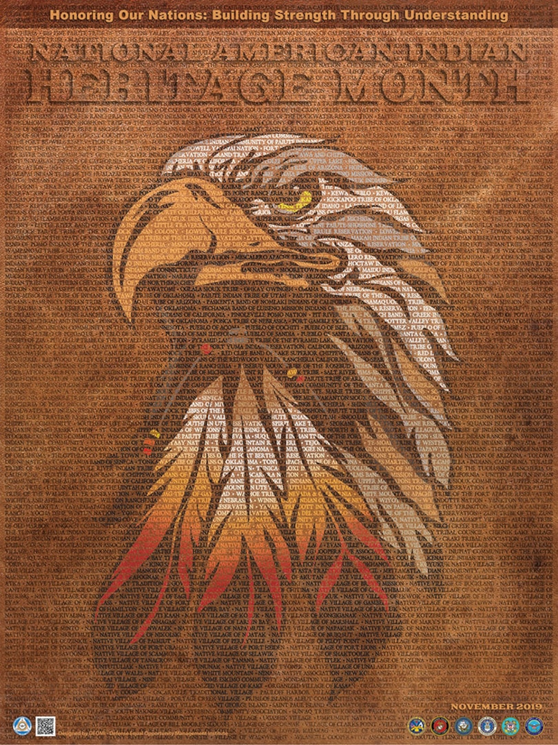 Poster with eagle and names of  Native American tribes for 2019 Native American Heritage Month