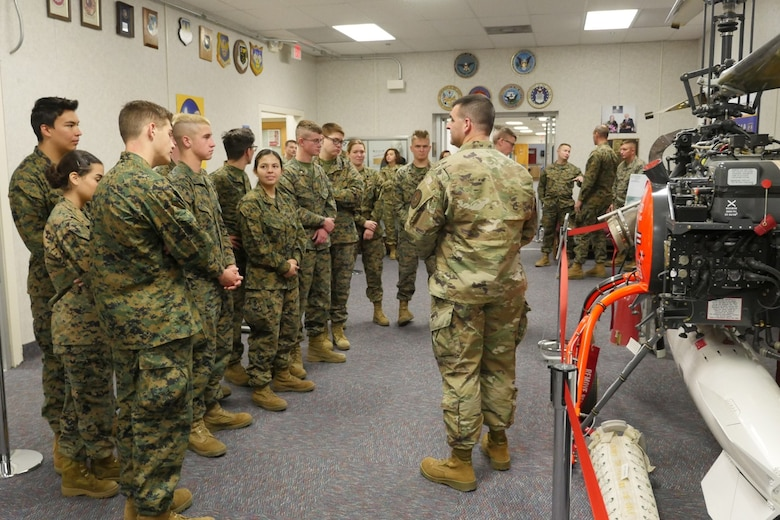 Photo of JROTC students from El Dorado High School touring the Nuclear Weapons Instructional Museum.