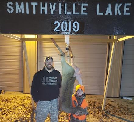 Mason Rudder, Holt, Mo., harvests a doe during the 30th annual managed deer hunt at Smithville Lake, Nov. 23, 2019.