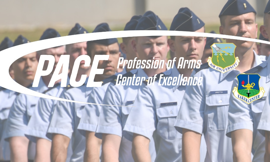 Profession of Arms Center of Excellence graphic featuring the Air University and Eaker Center shields over marching students.