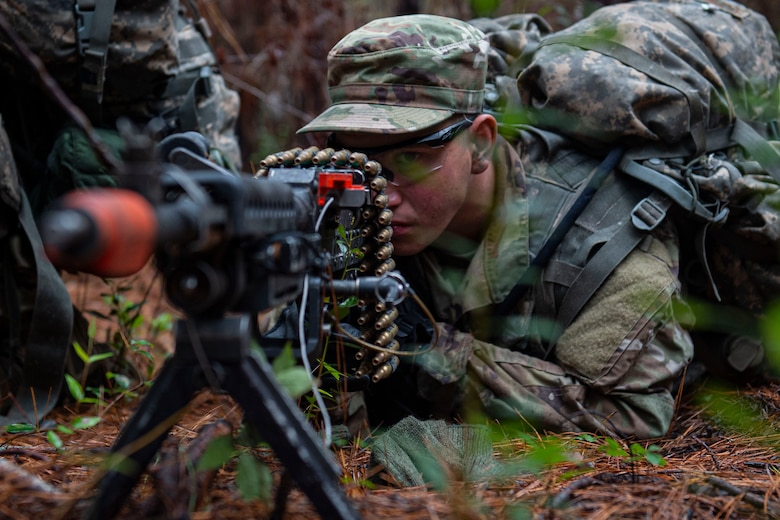 Senior Airman Zachary Dominguez, an Air Force Ranger Assessment Course student, aims down his sight Nov. 15, 2019, at Moody Air Force Base, Ga. The course teaches students critical tasks such as land navigation, troop movements and shooting and maintaining weapons. Over the course of 19 days, the Ranger Assessment Course evaluates students to determine if they possess the knowledge, willpower and skill to attend Army Ranger School. (U.S. Air Force photo by Airman Azaria E. Foster)