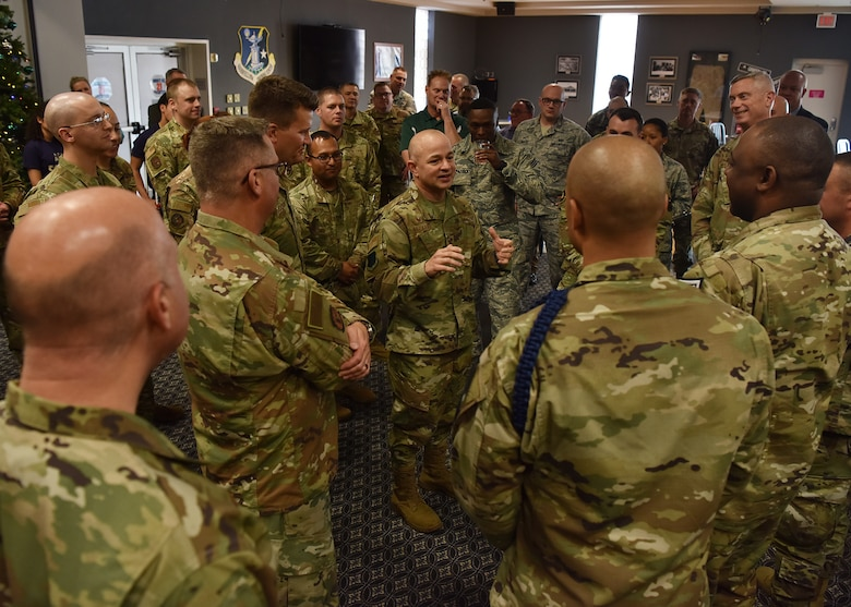 U.S. Air Force Col. Andres Nazario, 17th Training Wing commander, speaks to members of team Goodfellow during the Chief Master Sergeant Release Ceremony at the Event Center on Goodfellow Air Force Base, Texas, Nov. 26, 2019. Three senior master sergeants from the 17 TRW were selected for promotion to the rank of chief master sergeant. (U.S. Air Force photo by Staff Sgt. Chad Warren/released)