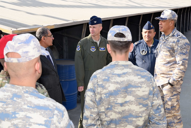 U.S. Air Force Col. Randy Oakland, 39th Air Base Wing commander, Brig. Gen. Ümüt Yıldız, Turkish General Staff chief of foreign affairs, and Brig. Gen. Gürel Özusta, 10th Tanker Base commander, visit the Combat Arms range during the Defense and Economic Cooperation Agreement inspection at Incirlik Air Base, Turkey, Nov. 25, 2019. DECA outlines various responsibilities that strengthen the mutual security cooperation between the two countries (U.S. Air Force photo by Tech. Sgt. Jim Araos)