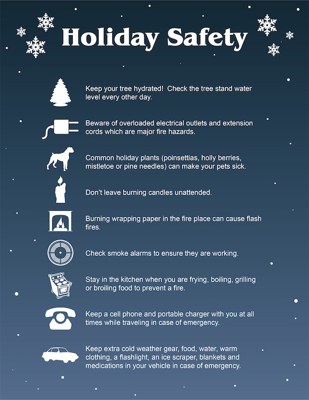 Graphic of holiday safety tips