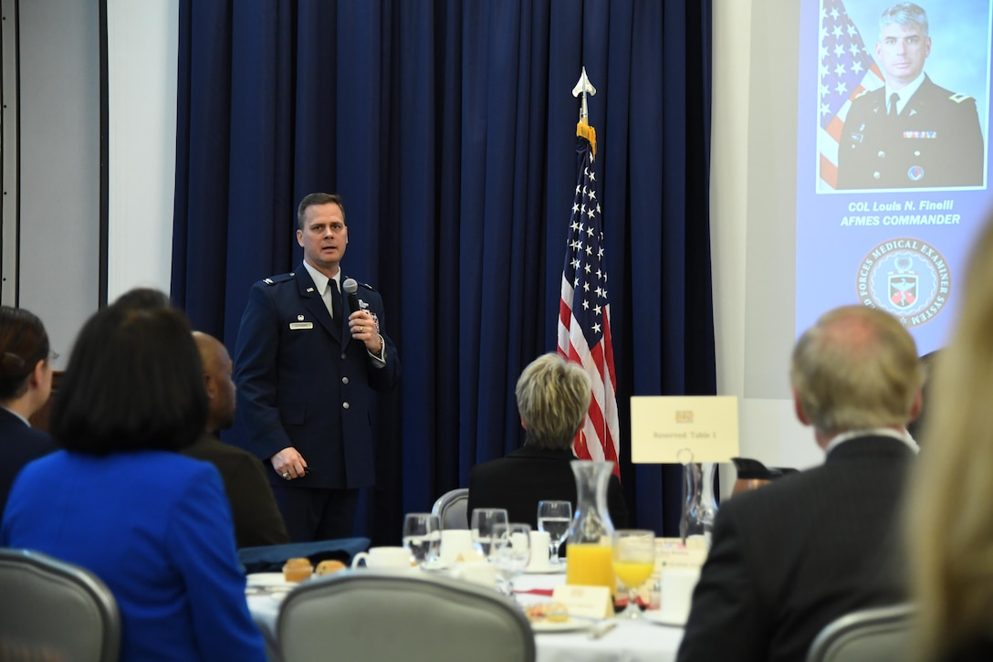 Col. Joel Safranek, 436th Airlift Wing commander, speaks to attendees during the State of the Base briefing on Dover Air Force Base, Del., Nov. 25, 2019. Safranek provided a brief overview of Team Dover's mission and its role in the National Defense Strategy, as well as current and future plans to better fulfill the base's mission. (U.S. Air Force photo by Senior Airman Eric M. Fisher)