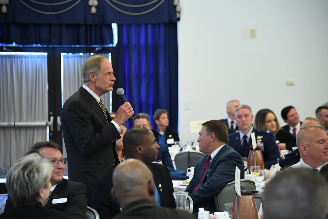 U.S. Senator Tom Carper speaks to attendees during the State of the Base on Dover Air Force Base, Del., Nov. 25, 2019. During the event, community and military leaders discussed current base events and future plans. (U.S Air Force photo by Senior Airman Eric M. Fisher)
