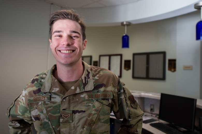 A photo of an Airman, from the 23d Force Support Squadron, smiling for a photo.