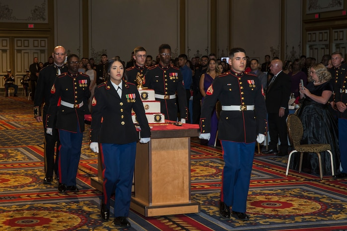U.S. Marines assigned to Headquarters and Headquarters Sqaudron (H&HS), Marine Corps Air Station (MCAS) Yuma participate in the 244th Marine Corps Birthday Ceremony in Las Vegas, Nevada Nov. 9, 2019. Each year Marines, Sailors assigned to Marine units, and their spouses and families celebrate the Marine Corps birthday of  November 10, 1775 and honor the traditions and history of the Marines. (U.S. Marine Corps photo by Sgt. Isaac D. Martinez)