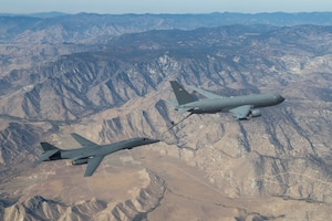 The B-1B Lancer conducted aerial testing with the KC-46 Pegasus in the skies over Edwards Air Force Base, California, recently. (Air Force photo by Don Allen)