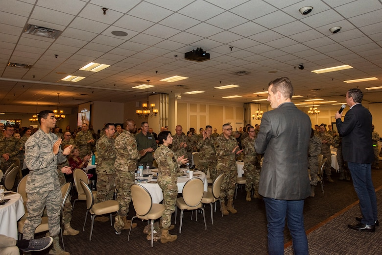 "U.S. Airmen and Soldiers stand and applaud the facilitators of the ""Brothers at War"" Resiliency Workshop at Shaw Air Force Base, South Carolina, Nov. 21, 2019."