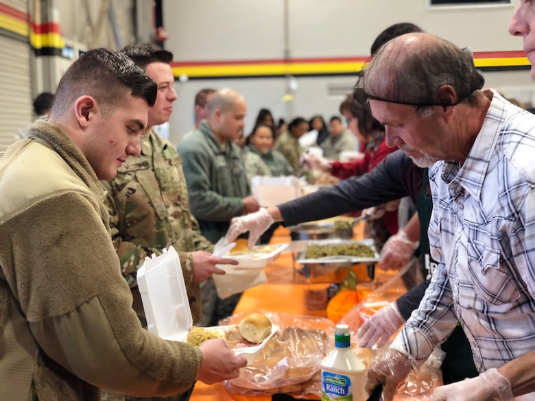 Reserve and active duty Airmen from the 419th and 388th Fighter Wings celebrate an early Thanksgiving at Hill Air Force Base, Utah, Nov. 27.