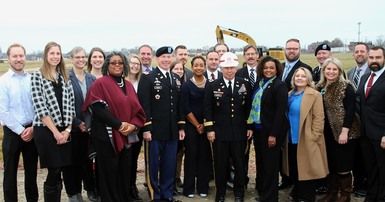 Group photo of the Kansas City District personnel working on the construction side of the project in St. Louis together with Lt. Gen. Todd Semonite, 54th Chief of Engineers and Commanding General of the U.S. Army Corps of Engineers (white hard hat) and Commander of the Kansas City District Col. Bill Hannan.