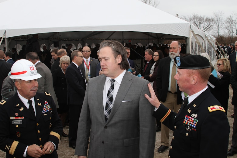 With significant federal, state and local dignitaries present, the National Geospatial-Intelligence Agency with many partners celebrated the symbolic groundbreaking for beginning of construction on the 97-acre campus in North St. Louis November 26, 2019. Recognized by the Corps after the ceremony. Left to right - Lt. Gen. Todd Semonite, 54th Chief of Engineers and Commanding General, U.S. Army Corps of Engineers; Jonathan Petry; and Commander of the Kansas City District Col. Bill Hannan.